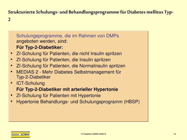 Strukturierte Schulungs- und Behandlungsprogramme für Diabetes mellitus Typ-2