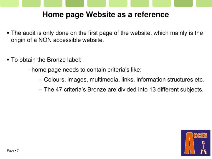 Home page Website as a reference