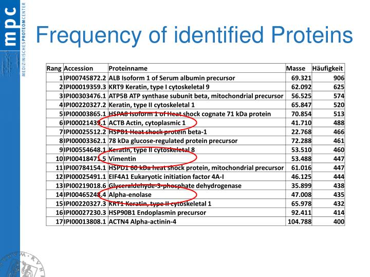 Frequency of identified Proteins