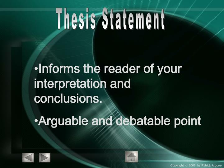 thesis arguable point