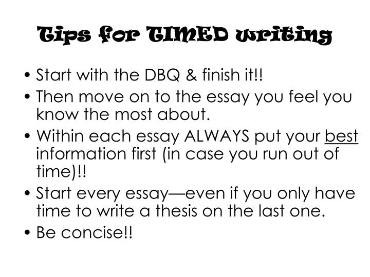 Tips for TIMED writing