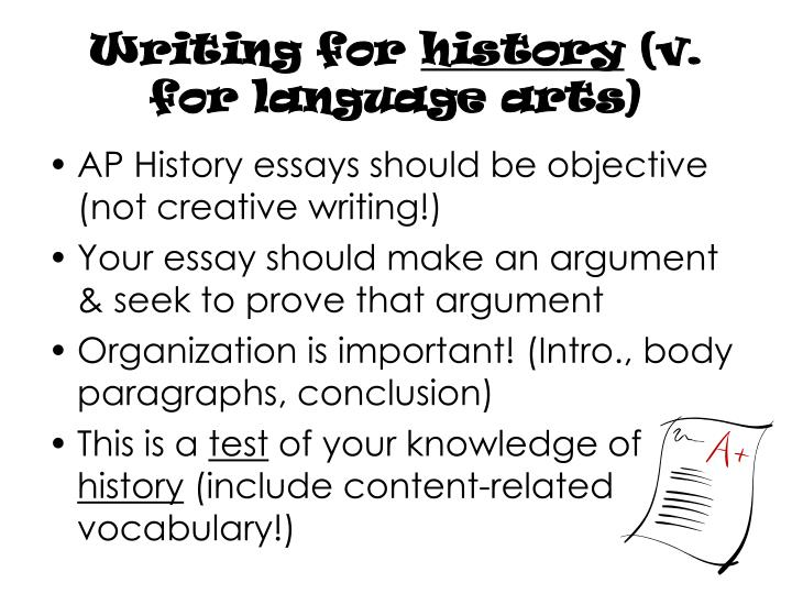 Writing for history v for language arts