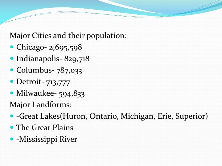 Major Cities and their population: