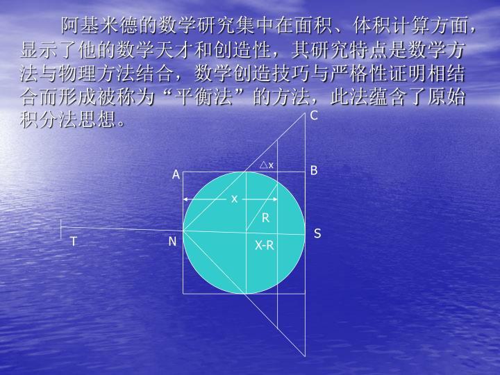 阿基米德的数学研究集中在面积、体积计算方面,显示了他的数学天才和创造性,其研究特点是数学方法与物理方法结合,数学创造技巧与严格性证明相结合而形成被称为