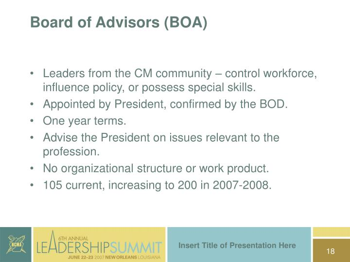 Board of Advisors (BOA)