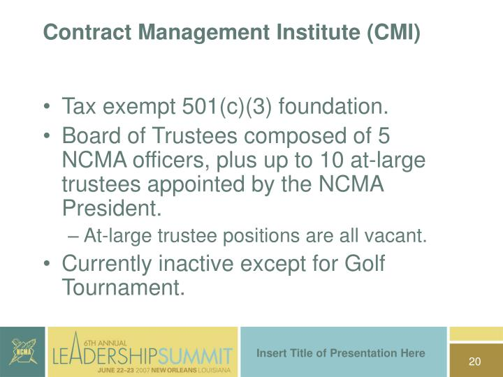 Contract Management Institute (CMI)