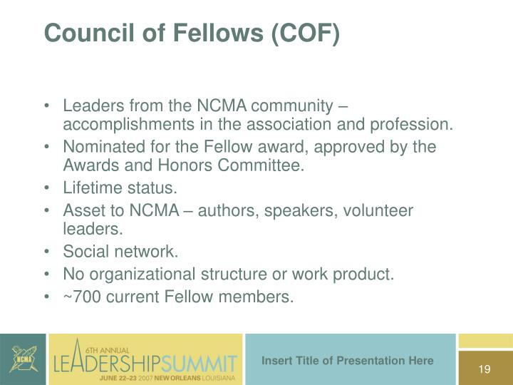 Council of Fellows (COF)