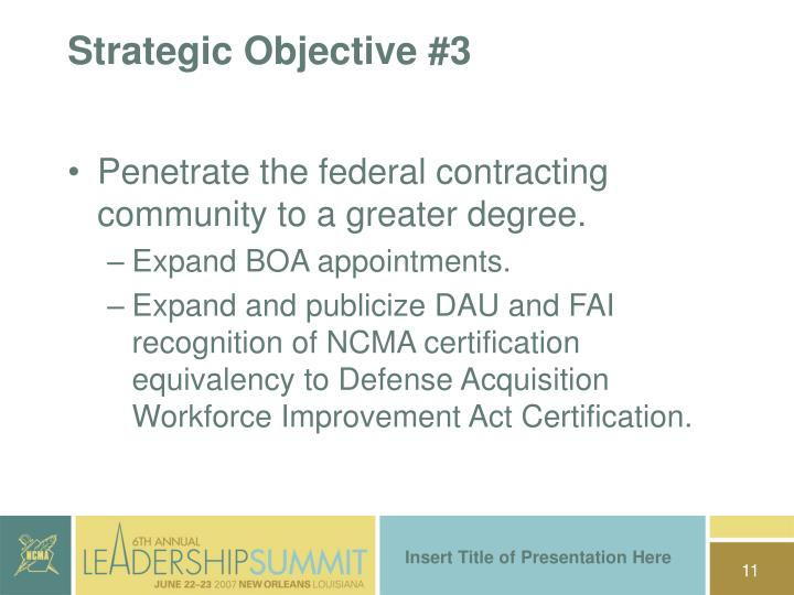 Strategic Objective #3
