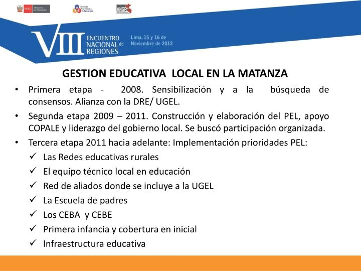 GESTION EDUCATIVA  LOCAL EN LA MATANZA