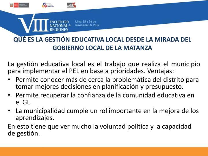 QUÉ ES LA GESTIÓN EDUCATIVA LOCAL DESDE LA MIRADA DEL GOBIERNO LOCAL DE LA MATANZA