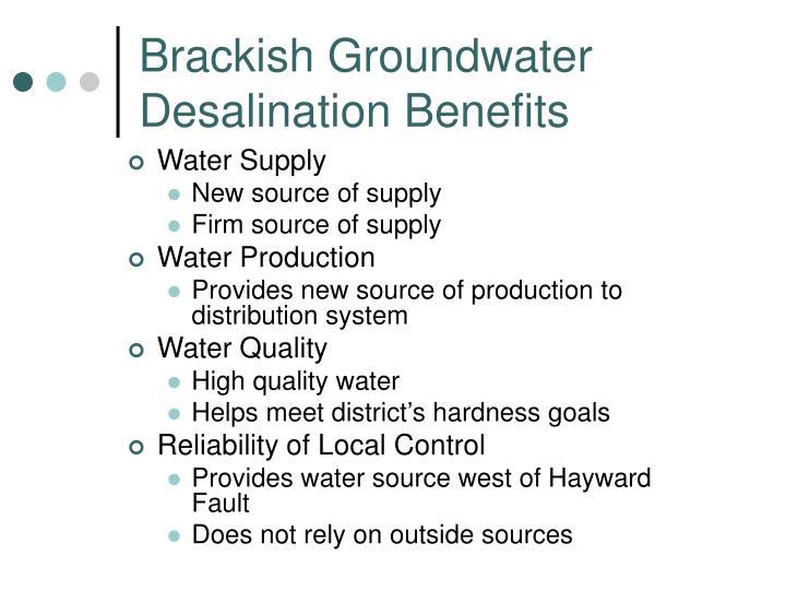 Brackish Groundwater Desalination Benefits