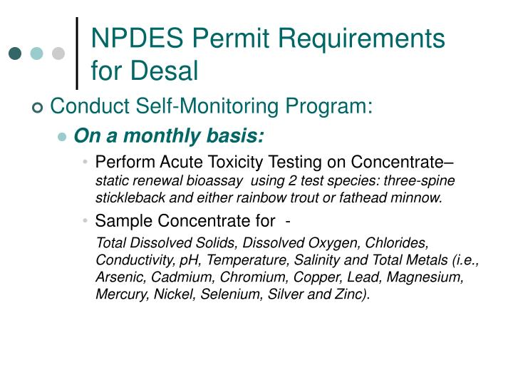 NPDES Permit Requirements for Desal