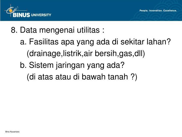 8. Data mengenai utilitas :