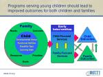 programs serving young children should lead to improved outcomes for both children and families