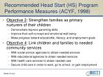 recommended head start hs program performance measures acyf 1998
