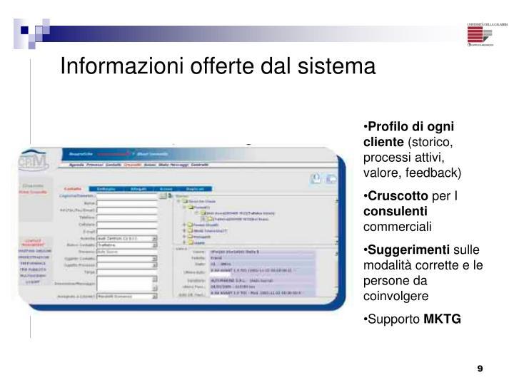 Informazioni offerte dal sistema