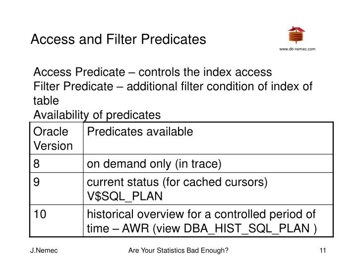 Access and Filter Predicates