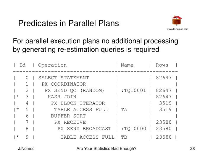 Predicates in Parallel Plans