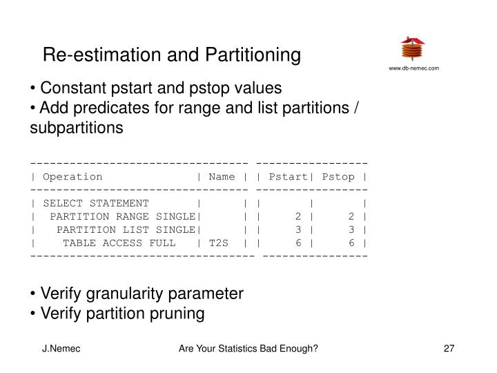 Re-estimation and Partitioning