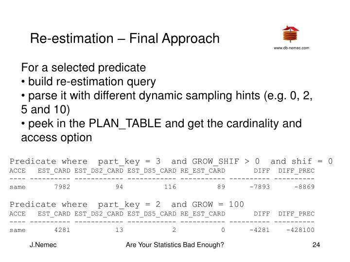 Re-estimation – Final Approach