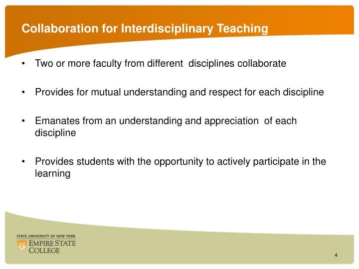 Collaboration for Interdisciplinary Teaching