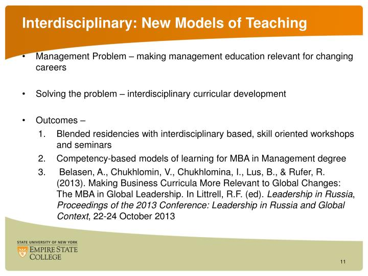 Interdisciplinary: New Models of Teaching