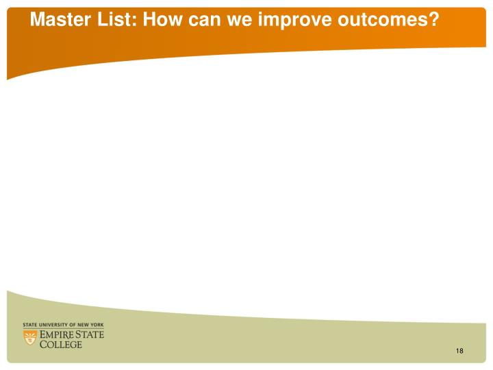 Master List: How can we improve outcomes?