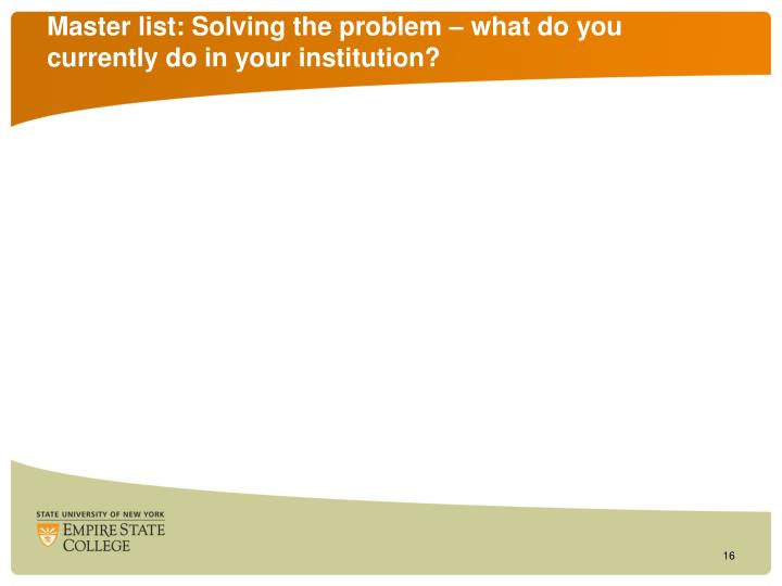 Master list: Solving the problem – what do you currently do in your institution?