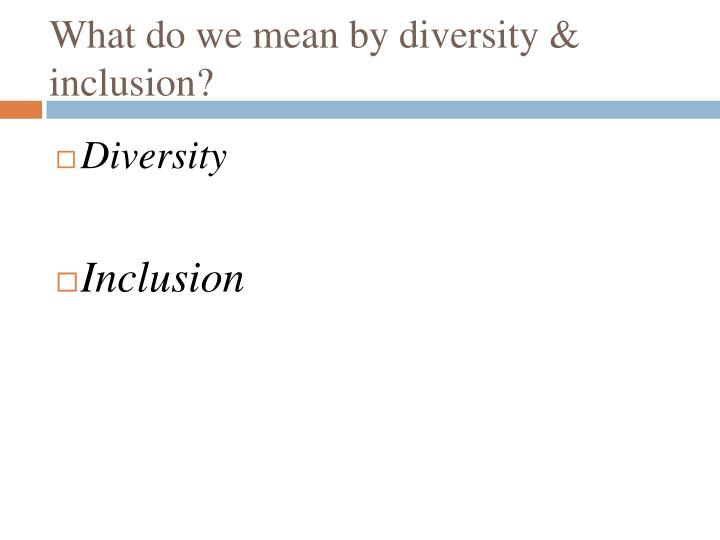 What do we mean by diversity inclusion