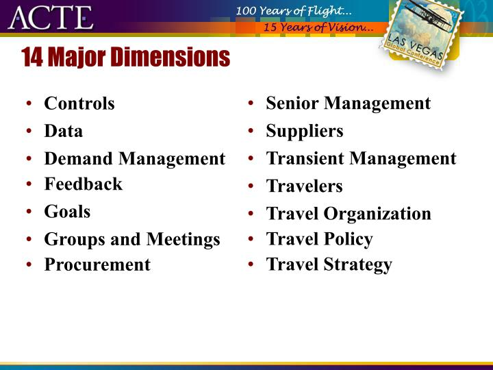 14 Major Dimensions