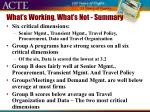 what s working what s not summary