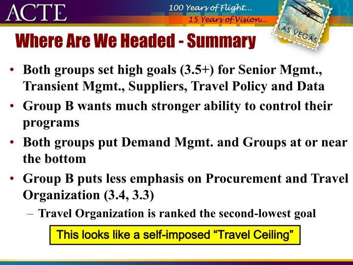 Where Are We Headed - Summary