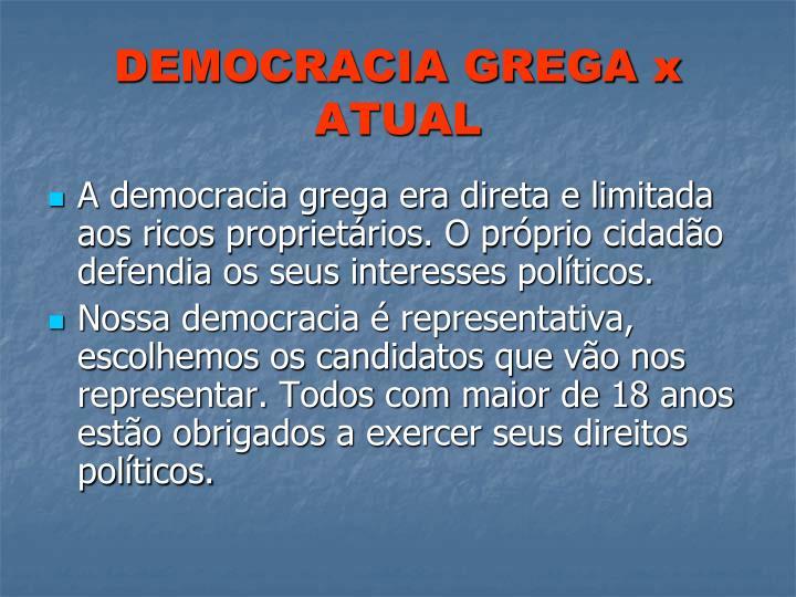 DEMOCRACIA GREGA x ATUAL