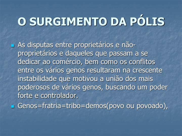 O SURGIMENTO DA PÓLIS