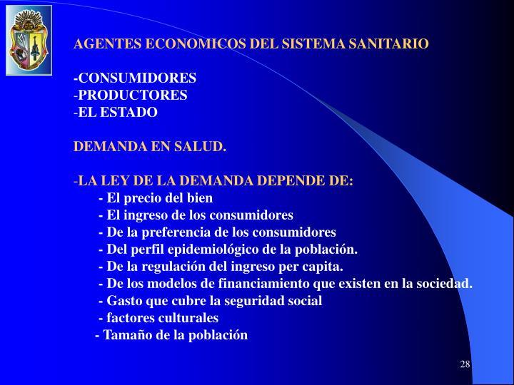 AGENTES ECONOMICOS DEL SISTEMA SANITARIO