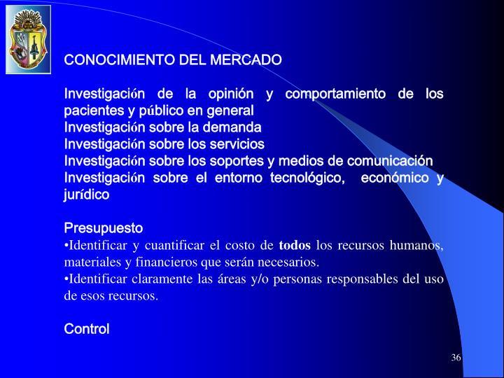 CONOCIMIENTO DEL MERCADO