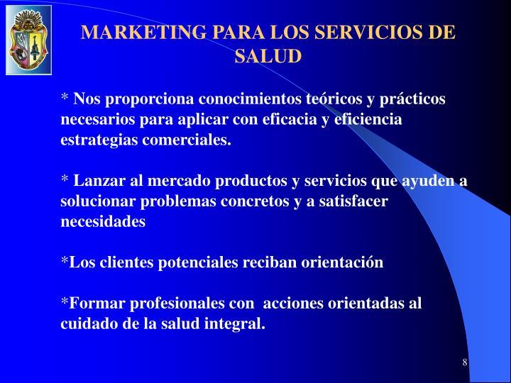 MARKETING PARA LOS SERVICIOS DE SALUD