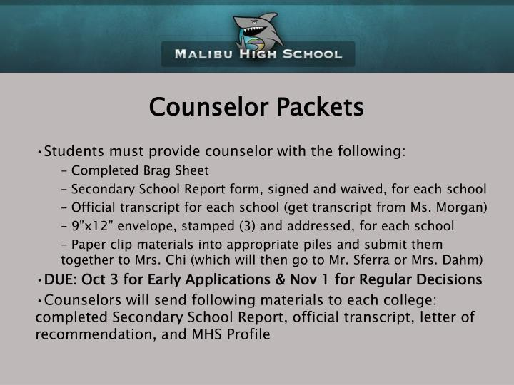 Counselor Packets