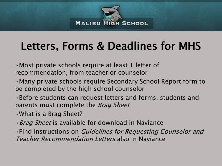 Letters, Forms & Deadlines for MHS