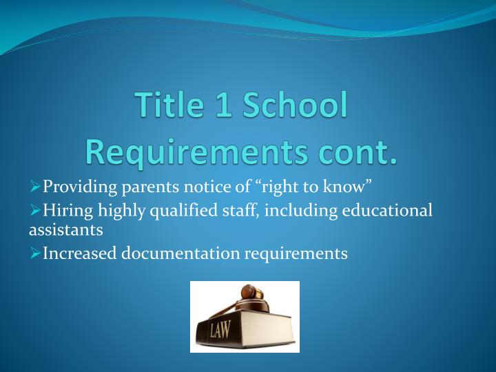 Title 1 School Requirements cont.