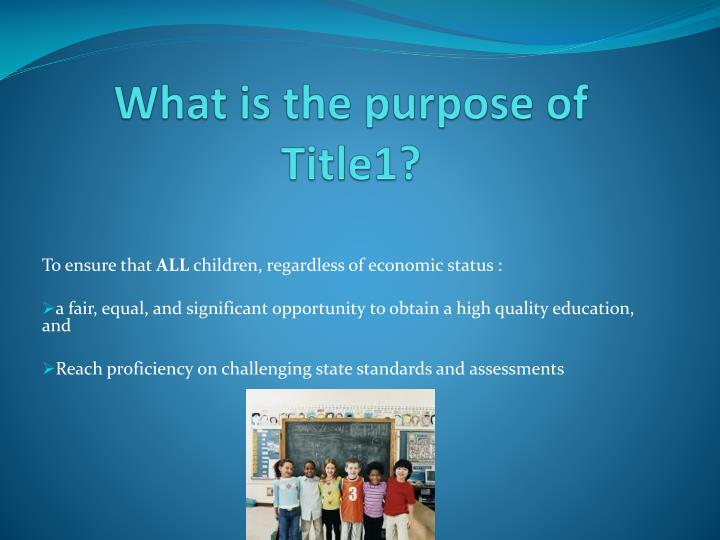 What is the purpose of Title1?