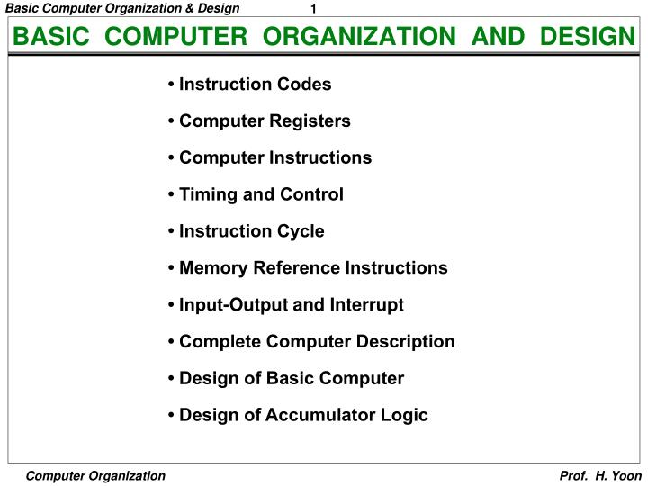 Ppt Basic Computer Organization And Design Powerpoint Presentation Free Download Id 3861351