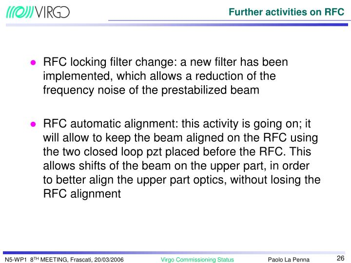 RFC locking filter change: a new filter has been implemented, which allows a reduction of the frequency noise of the prestabilized beam