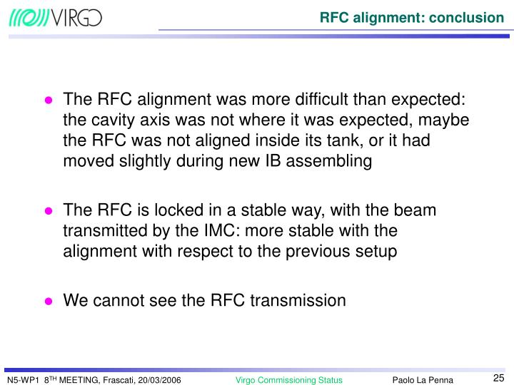 The RFC alignment was more difficult than expected: the cavity axis was not where it was expected, maybe the RFC was not aligned inside its tank, or it had moved slightly during new IB assembling