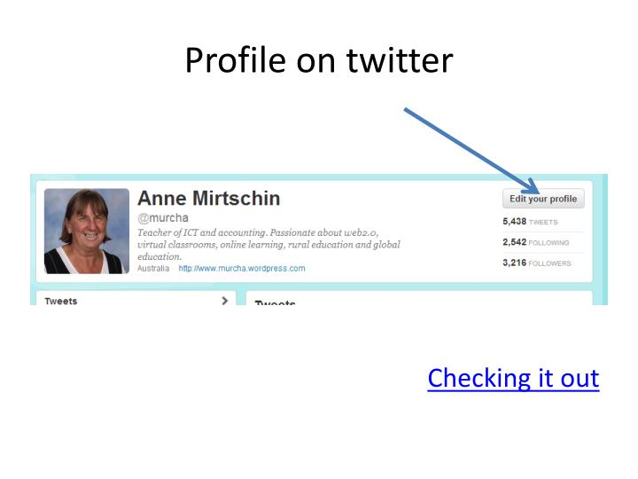 Profile on twitter