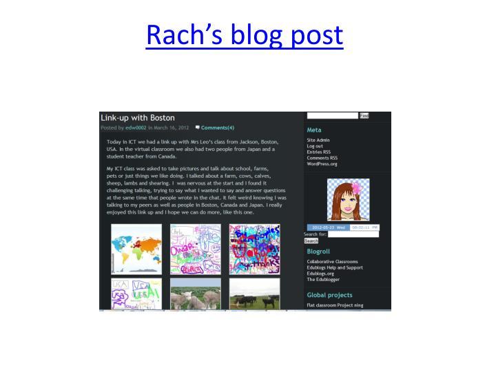 Rach's blog post