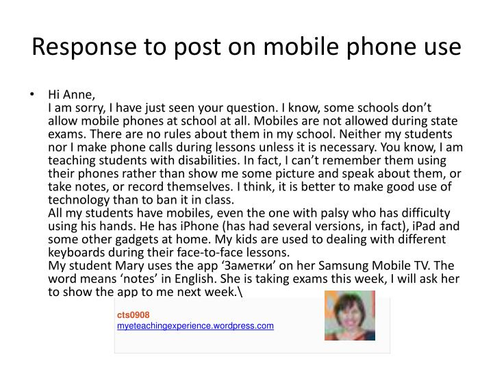 Response to post on mobile phone use
