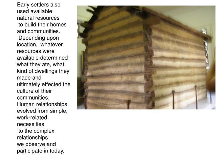 Early settlers also used available