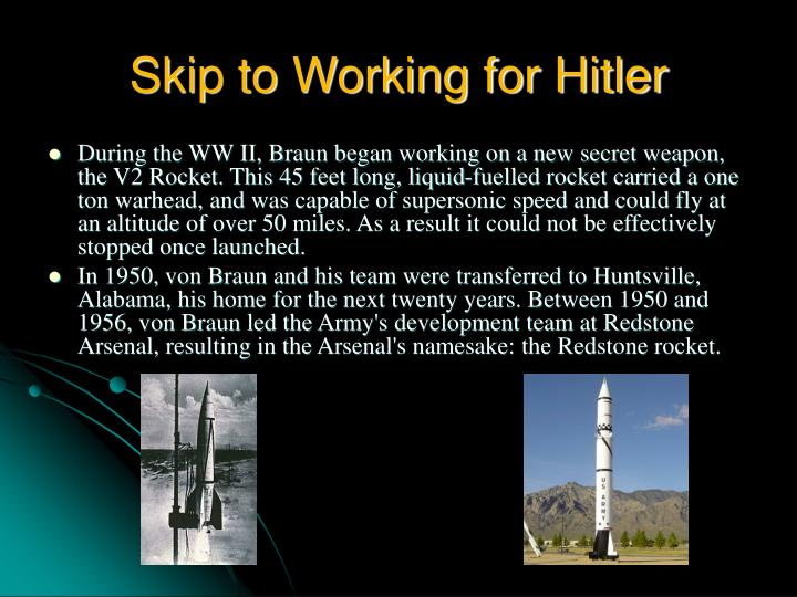 Skip to working for hitler