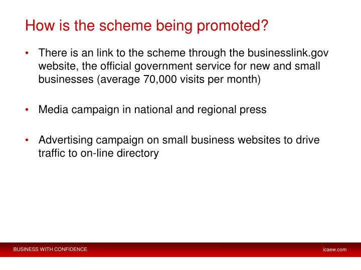 How is the scheme being promoted?
